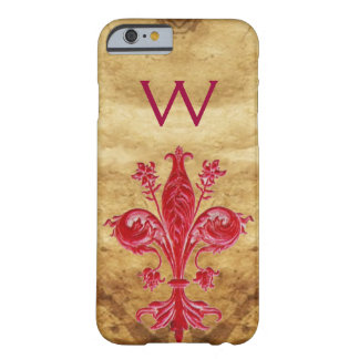 ANTIQUE FLORENTINE RED LILY FLEUR DE LIS PARCHMENT BARELY THERE iPhone 6 CASE