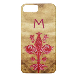 ANTIQUE FLORENTINE RED LILY FLEUR DE LIS PARCHMENT iPhone 8 PLUS/7 PLUS CASE