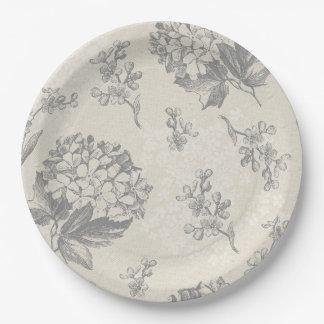 Antique Flower Pattern Paper Plate