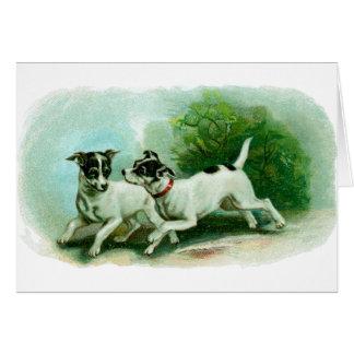 Antique Fox Terrier Illustration Greeting Card