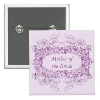 Antique Frame Lilac Wedding Role Button