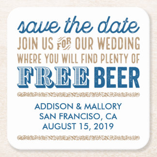 Antique Free Beer Save the Date Square Paper Coaster