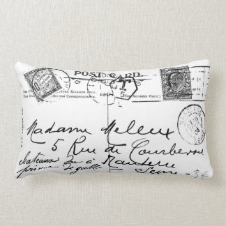 Antique French Postcard Stamps Paris Pillow