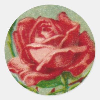 Antique French Rose Round Sticker