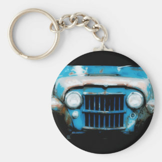 Antique Front Grille and Headlights Basic Round Button Key Ring