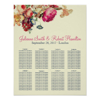 Antique Garden | Vintage Wedding Seating Chart Poster