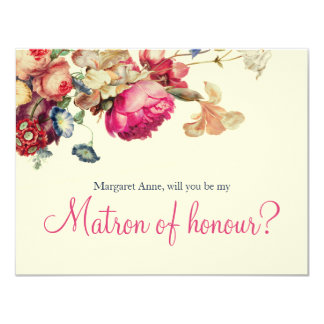 "Antique Garden | ""Will you be my Matron of honour"" 11 Cm X 14 Cm Invitation Card"