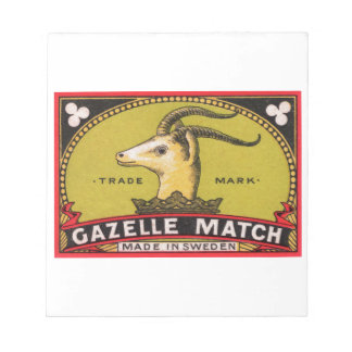 Antique Gazelle Swedish Matchbox Label Notepad