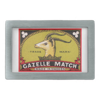 Antique Gazelle Swedish Matchbox Label Rectangular Belt Buckles