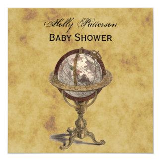 Antique Globe, Distressed BG SQ Baby Shower 5.25x5.25 Square Paper Invitation Card
