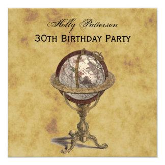 Antique Globe, Distressed BG SQ Birthday 13 Cm X 13 Cm Square Invitation Card