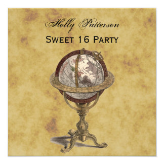 Antique Globe, Distressed BG SQ Sweet 16 Card