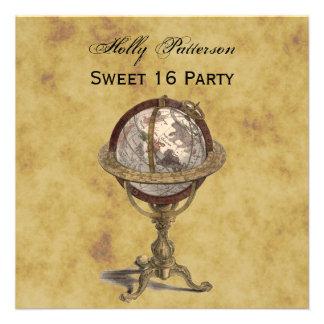 Antique Globe Distressed BG SQ Sweet 16 Custom Announcement
