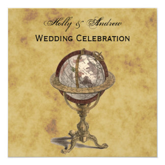 Antique Globe, Distressed BG SQ Wedding Card