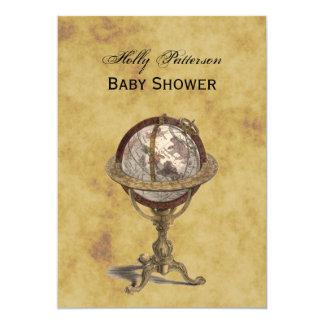 Antique Globe, Distressed BG V Baby Shower 5x7 Paper Invitation Card