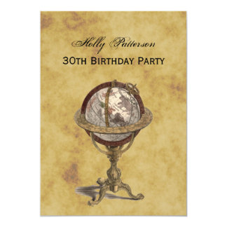 Antique Globe, Distressed BG V Birthday 13 Cm X 18 Cm Invitation Card