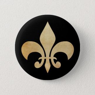Antique Gold and Black Fleur de Lis Button