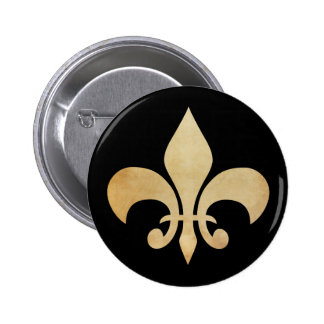 Antique Gold and Black Fleur de Lis Button