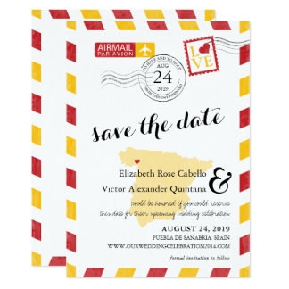 Antique Gold and Red Spain Airmail Save the Date Card