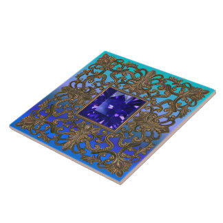 Antique Gold and Sapphire Peacock Tile