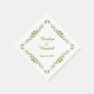 Antique Gold Border Personalized Wedding Disposable Napkin