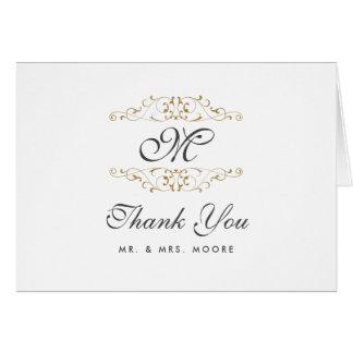 Antique Gold Flourish Wedding Thank You Card