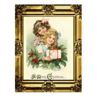 "Antique Gold Frame""A Merry Christmas""Vintage Girls Postcard"