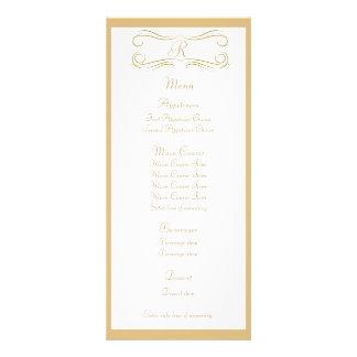 Antique Gold Monogram Wedding Menu Rack Card