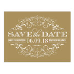 Antique Gold Save the Date | Swirl and Flourish