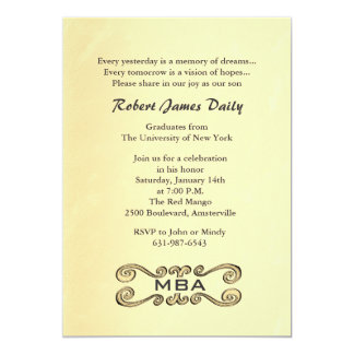 Antique Gold Scroll Graduation Invitation