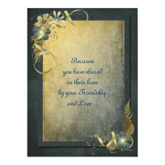Antique Gold Vow Renewal 17 Cm X 22 Cm Invitation Card