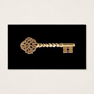 Antique Golden Gold Steampunk Skeleton Key Business Card