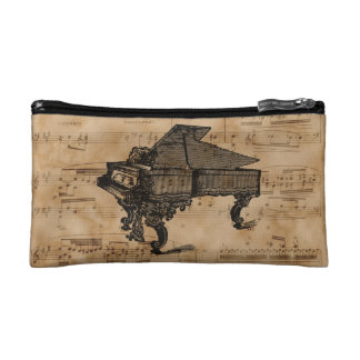 Antique Grand Piano on Vintage Music Sheet Page Makeup Bag