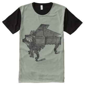 Antique Grand Piano,Vintage Illustration All-Over Print T-Shirt