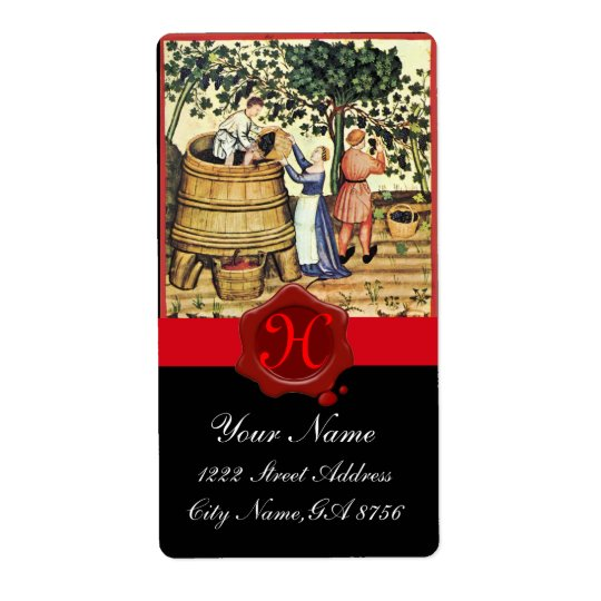 ANTIQUE GRAPE VINEYARD HARVEST WAX SEAL MONOGRAM SHIPPING LABEL