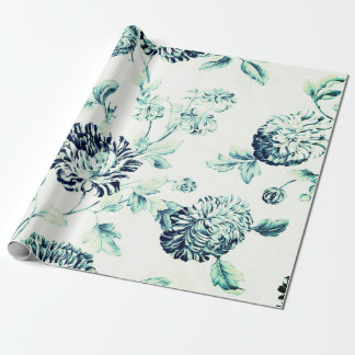 Antique Green Vintage Botanical Floral Toile Wrapping Paper