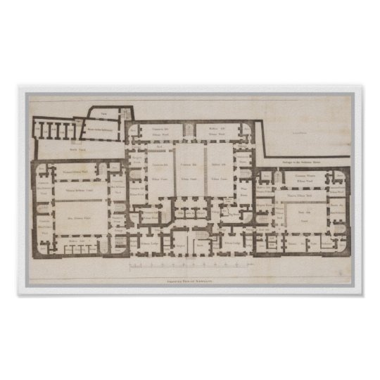 Antique ground plan of Newgate Prison London Poster