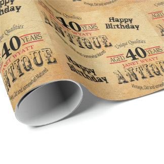 Antique Grunge Birthday | 40th Birthday Wrapping Paper