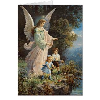 Antique Guardian Angel Card