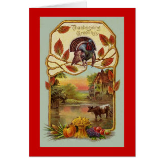 Antique Happy Thanksgiving Card Reproduction