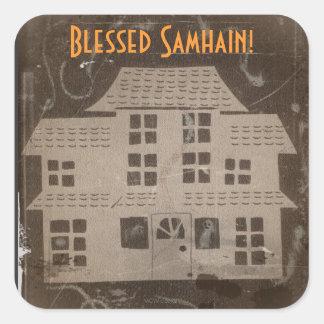Antique Haunted House Samhain Square Sticker