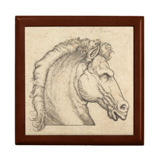 Antique Horse Head German Engraving Large Square Gift Box
