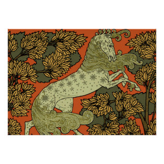 Antique Horse Pattern Poster