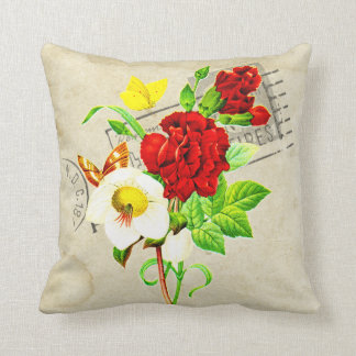 Antique Inspired Bright Floral Postage Butterfly Pillows