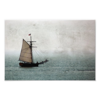 Antique Inspired Old Pirate Ship at Sea Rustic Photograph