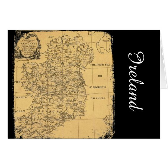 Antique Ireland Map Greeting Card