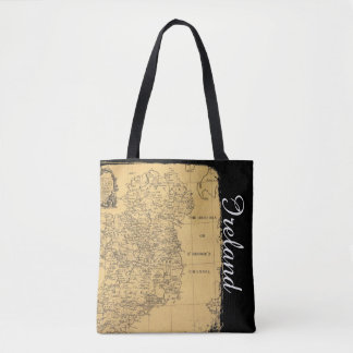 Antique Ireland Map Tote Bag