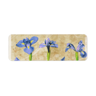 Antique Irises - Vintage Iris Background Customize Return Address Label