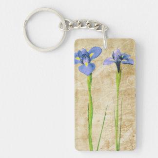 Antique Irises - Vintage Iris Background Customize Single-Sided Rectangular Acrylic Key Ring