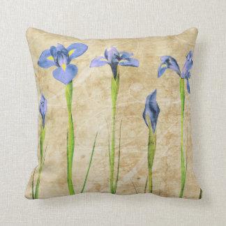 Antique Irises - Vintage Iris Background Customize Throw Pillow